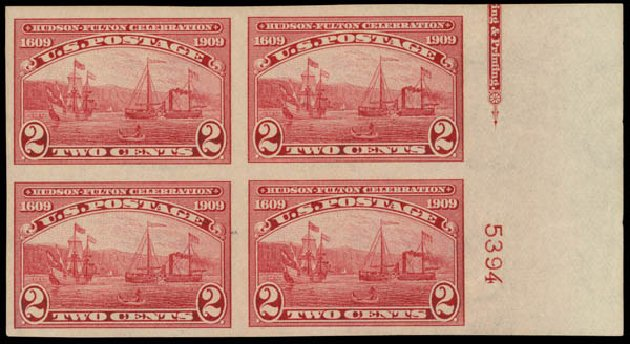 Cost of US Stamp Scott 373 - 2c 1909 Hudson-Fulton Imperf. Daniel Kelleher Auctions, May 2015, Sale 669, Lot 2935