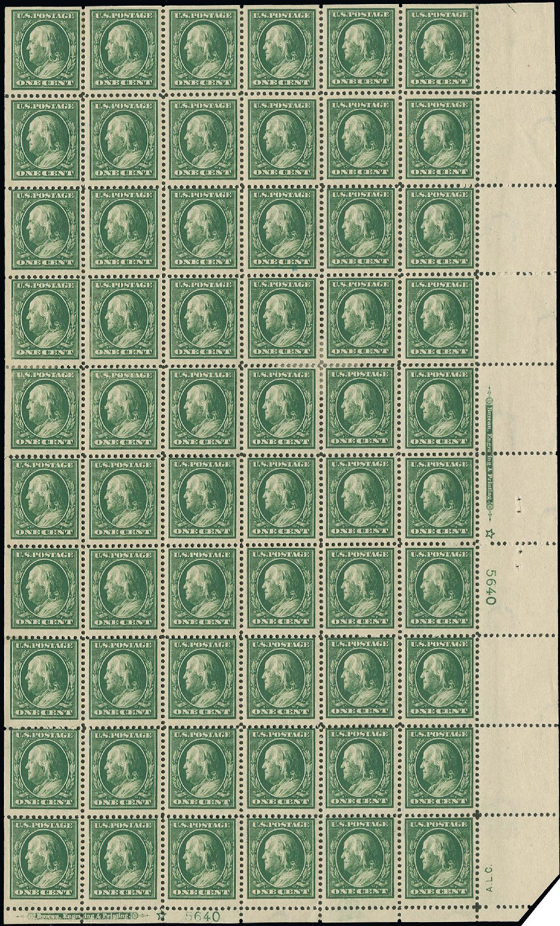 US Stamp Values Scott # 374 - 1c 1910 Franklin Perf 12. H.R. Harmer, Oct 2014, Sale 3006, Lot 1339
