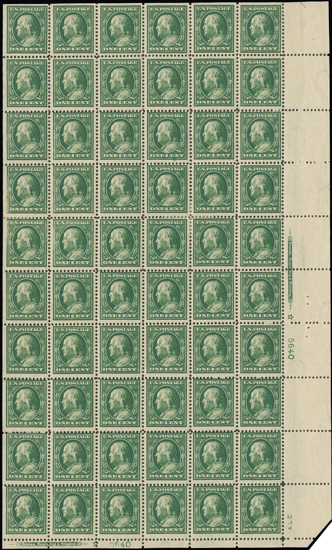 US Stamp Values Scott # 374 - 1c 1910 Franklin Perf 12. H.R. Harmer, Oct 2014, Sale 3006, Lot 1339