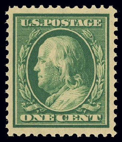Value of US Stamps Scott #374 - 1910 1c Franklin Perf 12. Daniel Kelleher Auctions, Feb 2013, Sale 634, Lot 239
