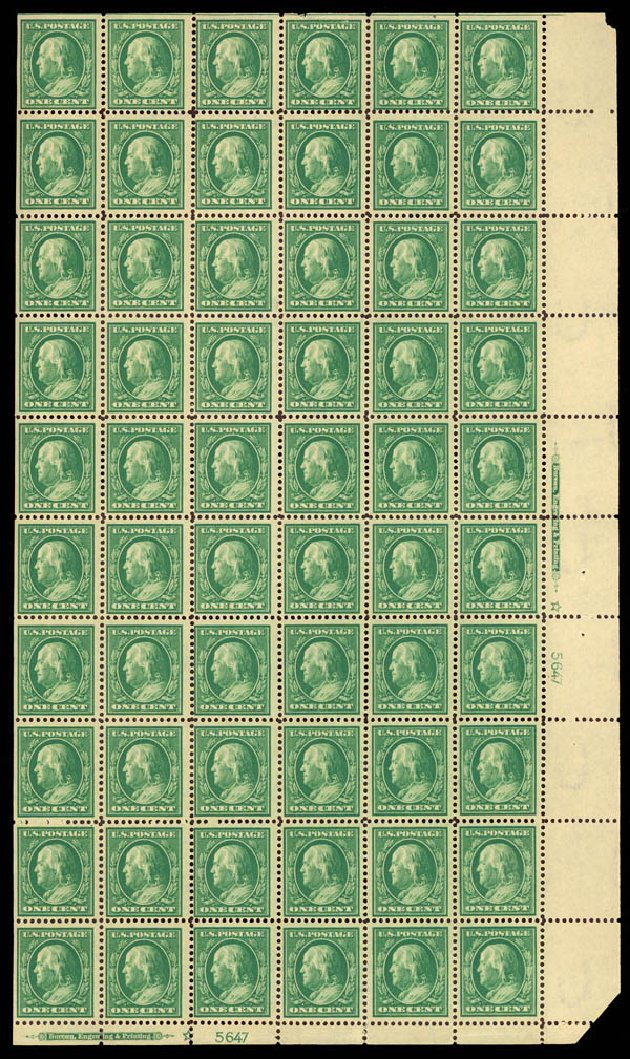 US Stamps Value Scott Catalog #374: 1910 1c Franklin Perf 12. Daniel Kelleher Auctions, Mar 2013, Sale 635, Lot 490