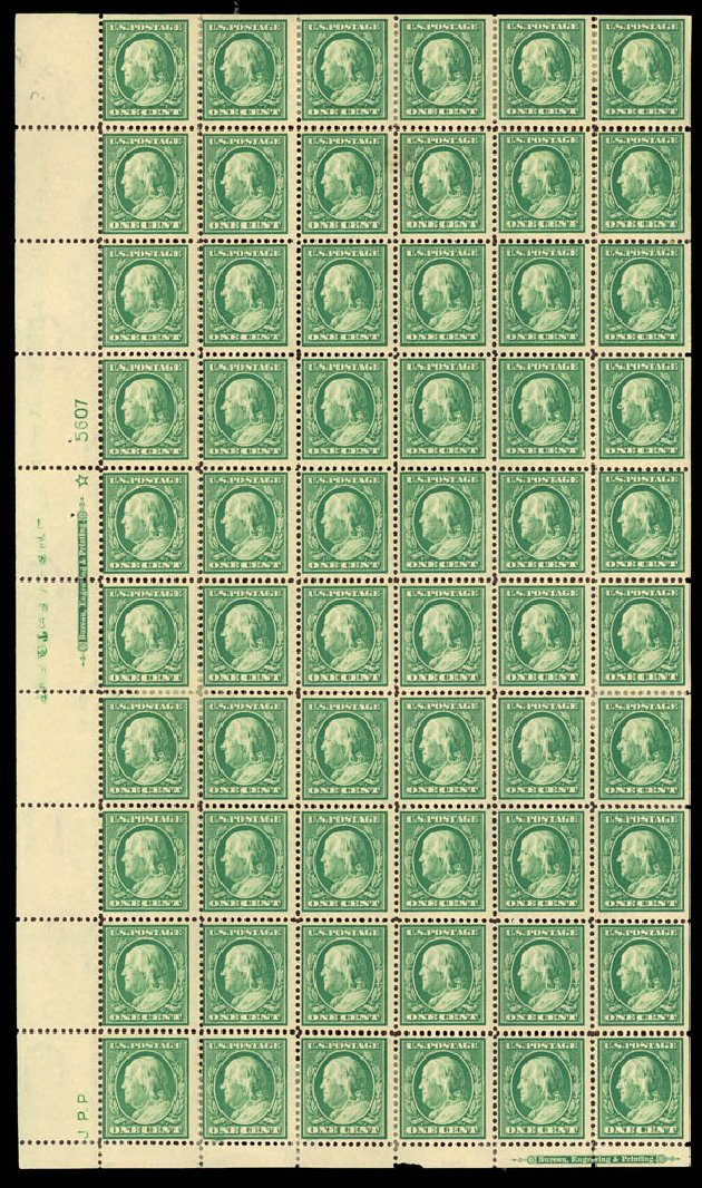 Value of US Stamps Scott Catalog 374: 1910 1c Franklin Perf 12. Daniel Kelleher Auctions, Mar 2013, Sale 635, Lot 491