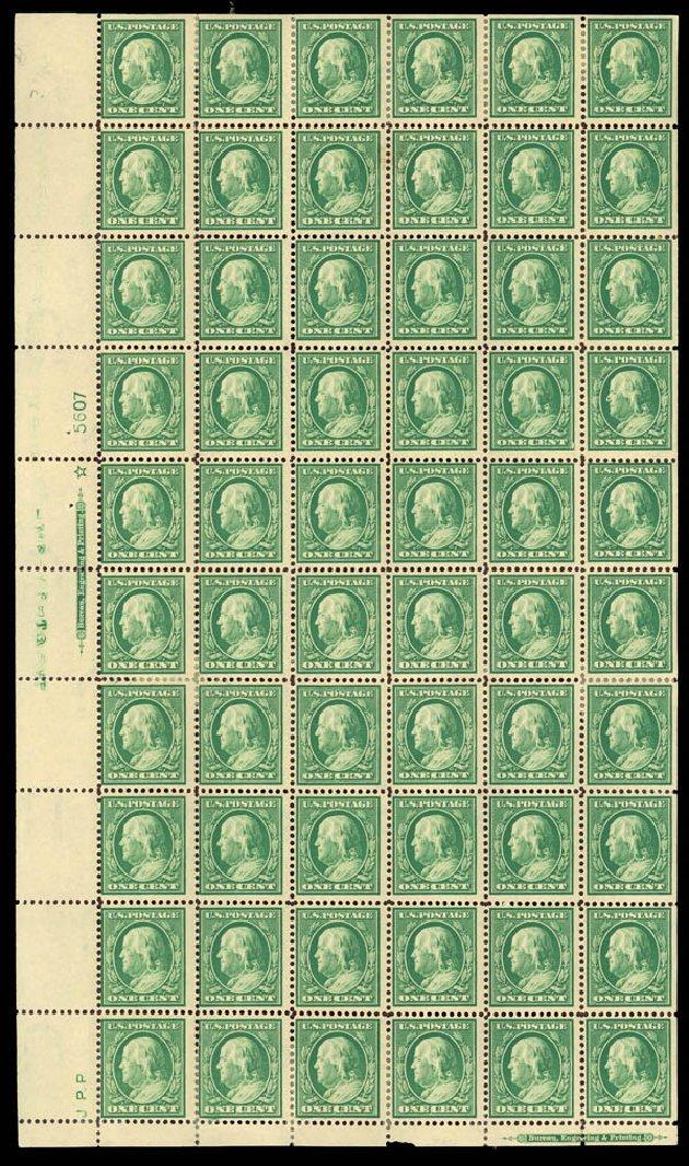 Value of US Stamps Scott Catalog 374: 1910 1c Franklin Perf 12. Daniel Kelleher Auctions, Mar 2013, Sale 635, Lot 491