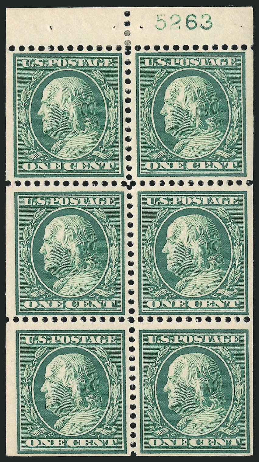 Values of US Stamps Scott Cat. # 374: 1c 1910 Franklin Perf 12. Robert Siegel Auction Galleries, Sep 2014, Sale 1078, Lot 491