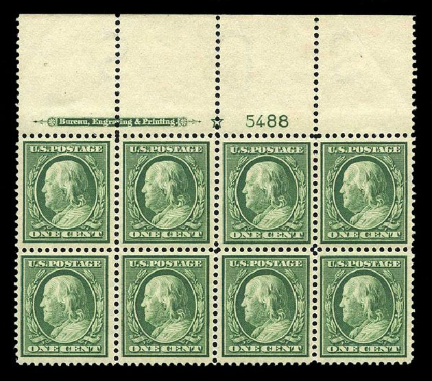 US Stamp Values Scott Catalogue 374: 1910 1c Franklin Perf 12. Harmer-Schau Auction Galleries, Aug 2015, Sale 106, Lot 1782