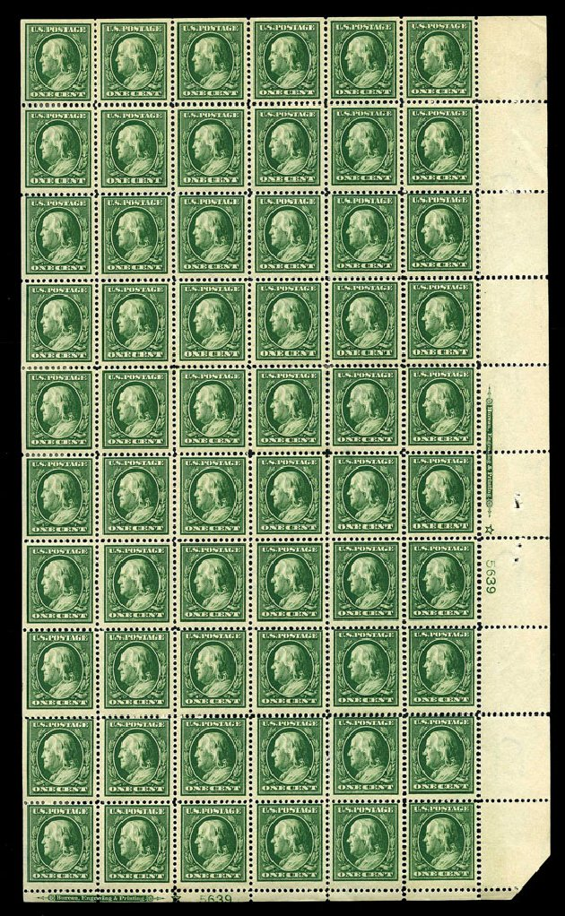 Costs of US Stamps Scott Catalogue #374: 1910 1c Franklin Perf 12. Harmer-Schau Auction Galleries, Aug 2015, Sale 106, Lot 1783