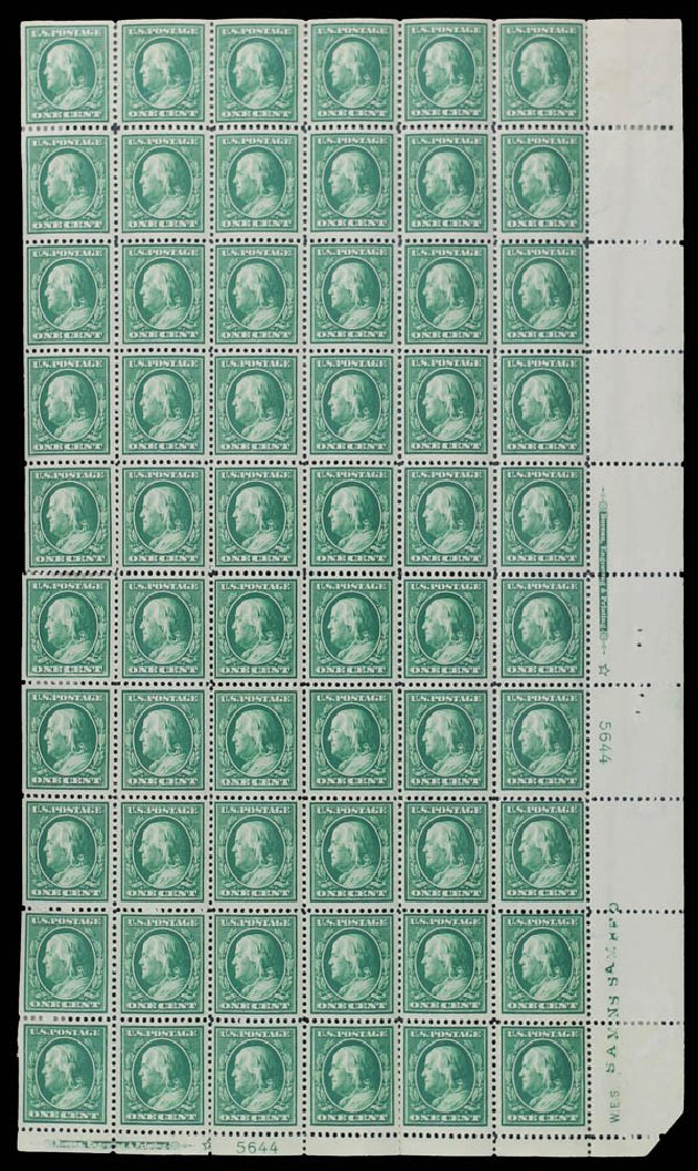 Cost of US Stamps Scott Catalogue 374: 1910 1c Franklin Perf 12. Daniel Kelleher Auctions, May 2014, Sale 652, Lot 556