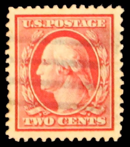 US Stamp Values Scott Catalogue # 375 - 1910 2c Washington Perf 12. Daniel Kelleher Auctions, May 2014, Sale 652, Lot 557