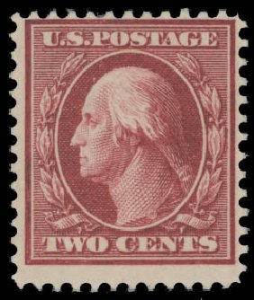 Cost of US Stamp Scott Cat. # 375 - 1910 2c Washington Perf 12. Daniel Kelleher Auctions, Aug 2015, Sale 672, Lot 2690