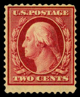 Value of US Stamp Scott Catalog #375 - 1910 2c Washington Perf 12. Daniel Kelleher Auctions, Dec 2013, Sale 640, Lot 345