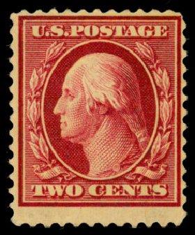 Value of US Stamp Scott Catalog #375 - 1910 2c Washington Perf 12. Daniel Kelleher Auctions, Dec 2013, Sale 640, Lot 345
