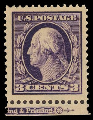 1911, 3¢ deep violet (Scott 376), bottom margin part imprint single, o g ,  never hinged, fabulous, huge margined stamp with breathtaking deep rich