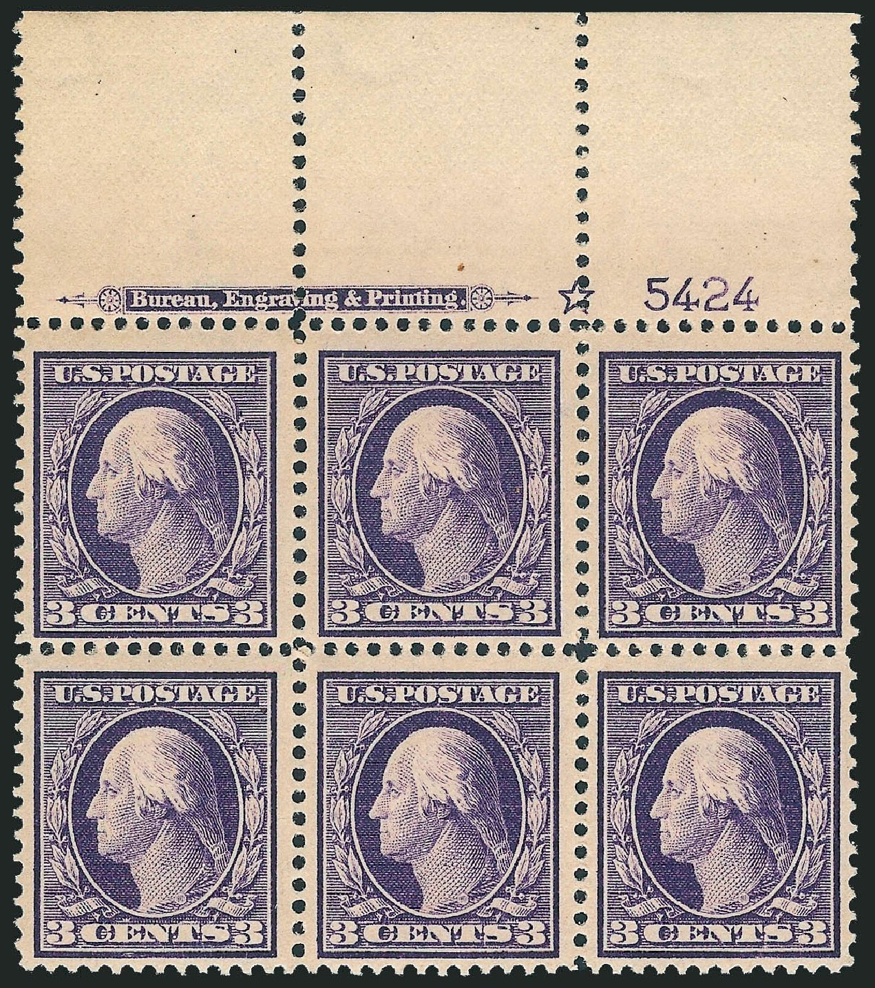 Values of US Stamp Scott Cat. # 376: 1910 3c Washington Perf 12. Robert Siegel Auction Galleries, Mar 2014, Sale 1067, Lot 1458