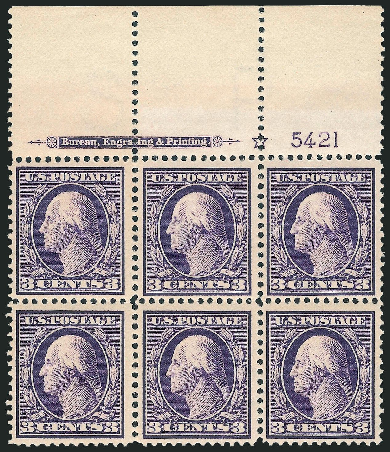 US Stamp Value Scott Catalog # 376: 1910 3c Washington Perf 12. Robert Siegel Auction Galleries, Mar 2014, Sale 1067, Lot 1459