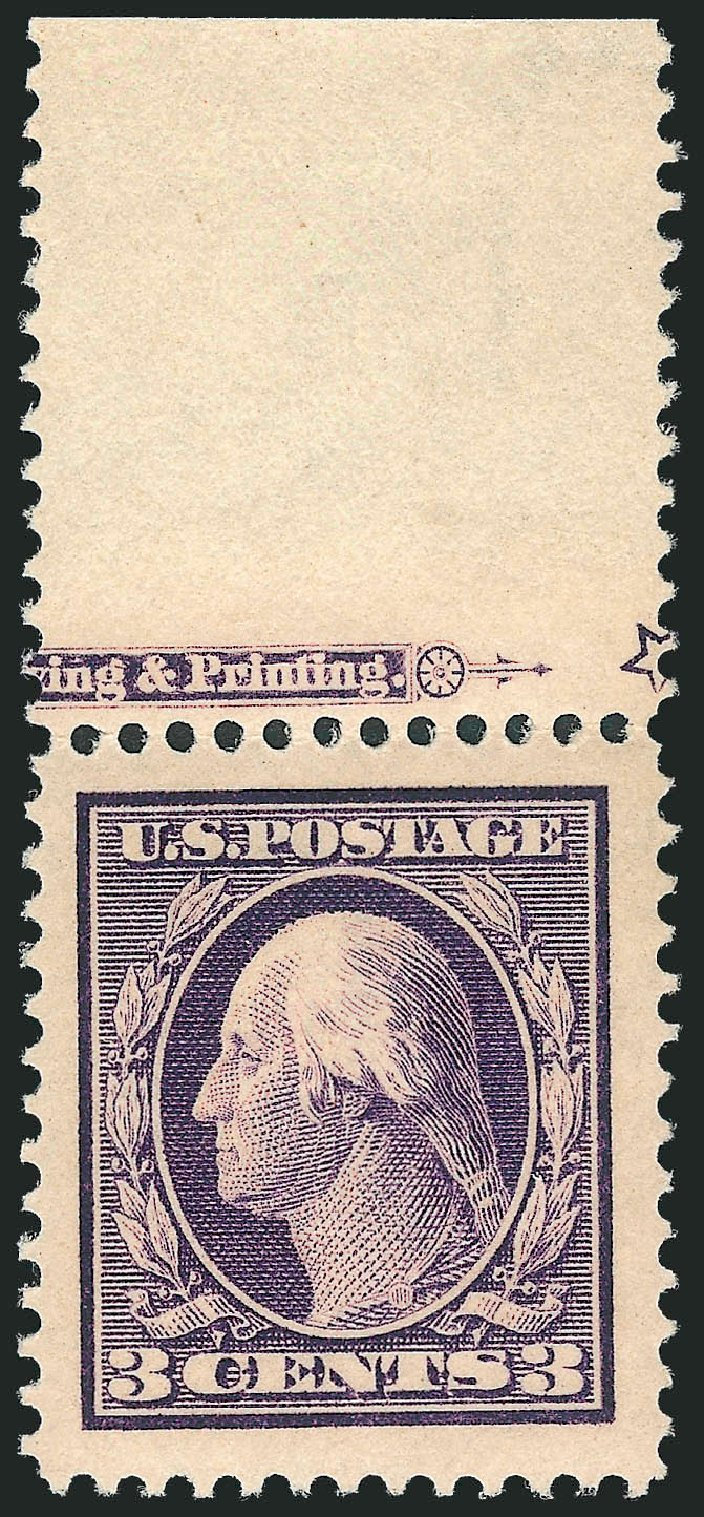 US Stamp Value Scott Cat. # 376: 3c 1910 Washington Perf 12. Robert Siegel Auction Galleries, Mar 2013, Sale 1040, Lot 1751