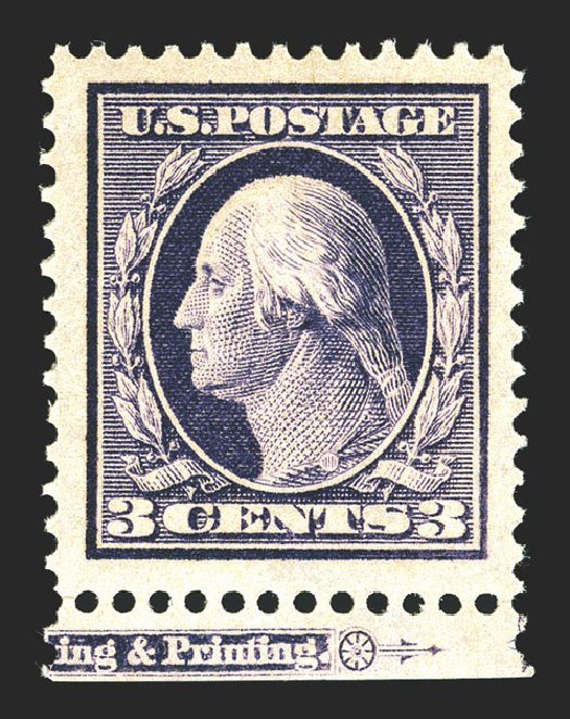 US Stamps Price Scott Catalog #376 - 1910 3c Washington Perf 12. Spink Shreves Galleries, Mar 2013, Sale 142, Lot 334