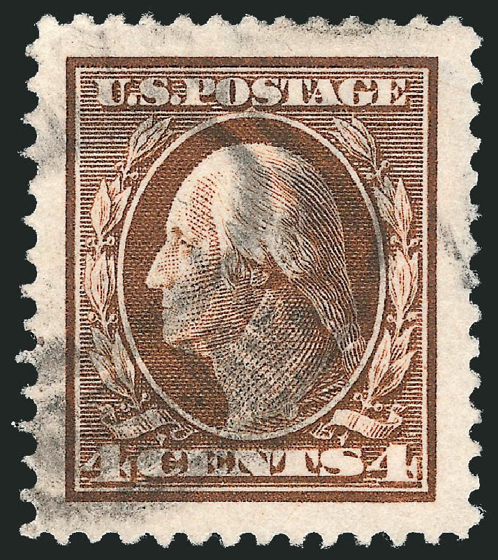 Values of US Stamps Scott Catalog # 377 - 1911 4c Washington Perf 12. Robert Siegel Auction Galleries, Dec 2014, Sale 1090, Lot 1481