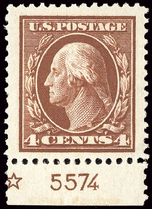 Value of US Stamp Scott # 377 - 1911 4c Washington Perf 12. Spink Shreves Galleries, Jan 2014, Sale 146, Lot 381