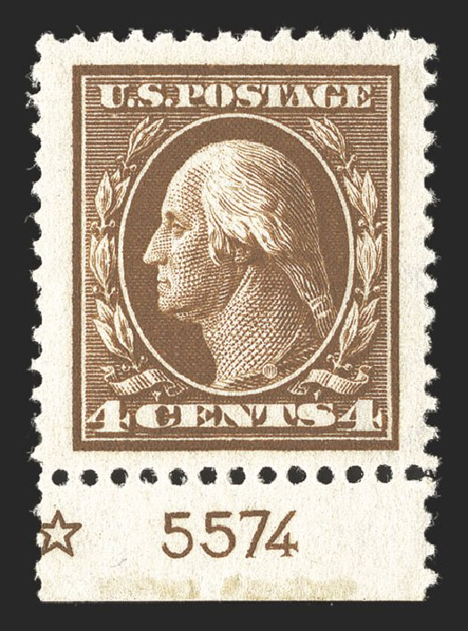US Stamp Values Scott Catalogue #377 - 1911 4c Washington Perf 12. Spink Shreves Galleries, Mar 2013, Sale 142, Lot 335