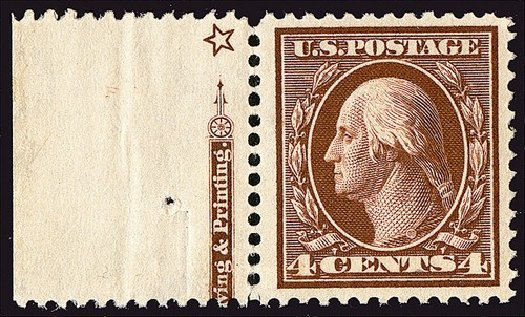 US Stamps Value Scott Catalogue # 377: 4c 1911 Washington Perf 12. Spink Shreves Galleries, Jan 2014, Sale 146, Lot 382
