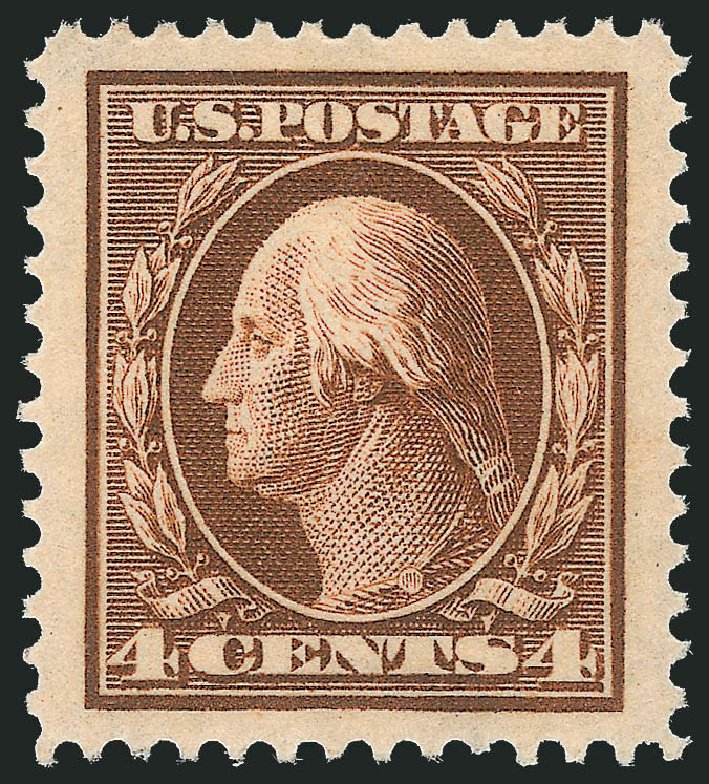 US Stamp Values Scott Catalog 377 - 4c 1911 Washington Perf 12. Robert Siegel Auction Galleries, Dec 2013, Sale 1062, Lot 553