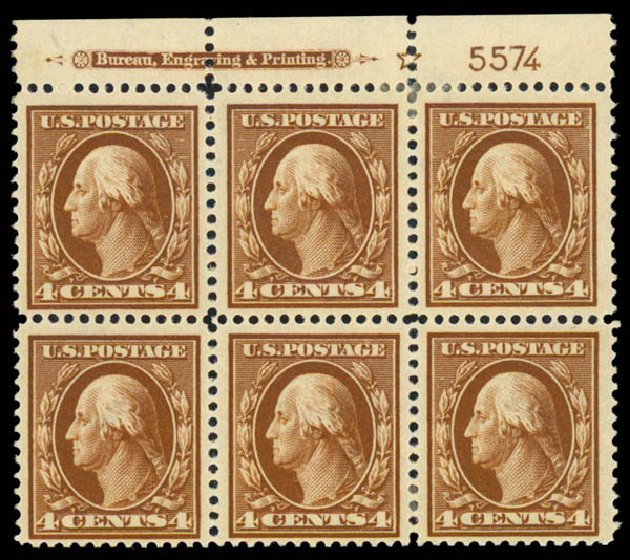 Costs of US Stamps Scott Catalog 377 - 4c 1911 Washington Perf 12. Daniel Kelleher Auctions, Sep 2013, Sale 639, Lot 3486