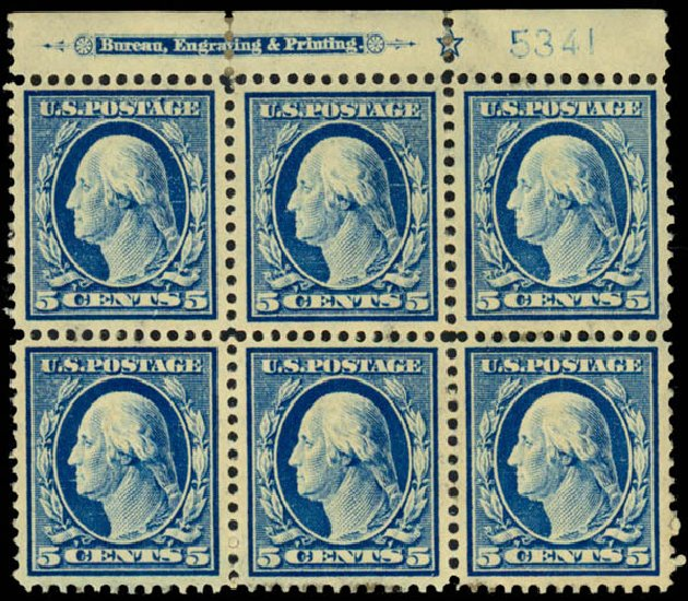 Price of US Stamps Scott Catalogue #378: 1911 5c Washington Perf 12. Daniel Kelleher Auctions, Dec 2013, Sale 640, Lot 347