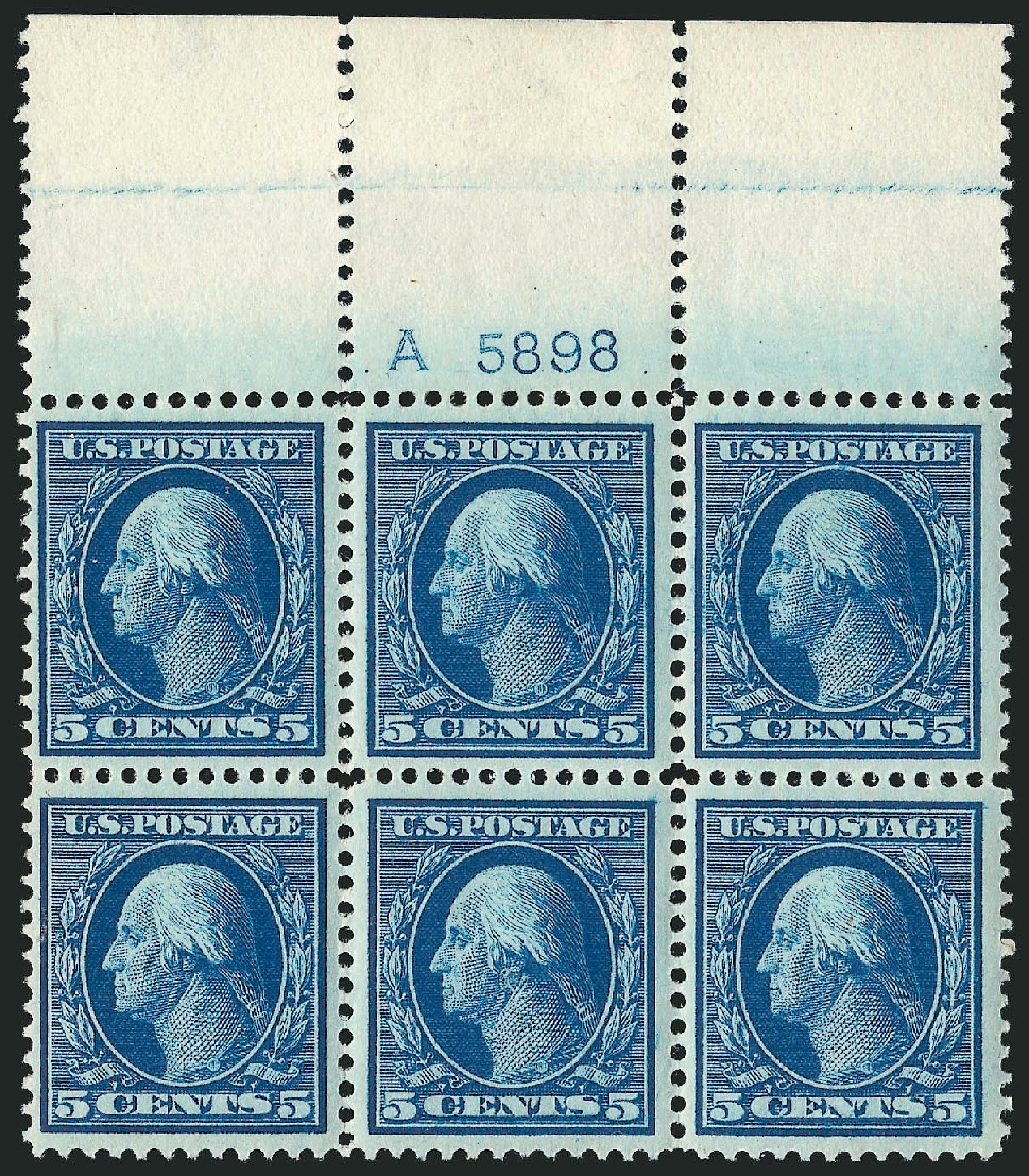 US Stamp Values Scott 378 - 1911 5c Washington Perf 12. Robert Siegel Auction Galleries, Feb 2015, Sale 1093, Lot 187