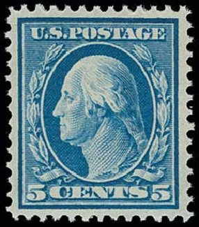 Price of US Stamps Scott 378 - 5c 1911 Washington Perf 12. H.R. Harmer, Jun 2013, Sale 3003, Lot 1270