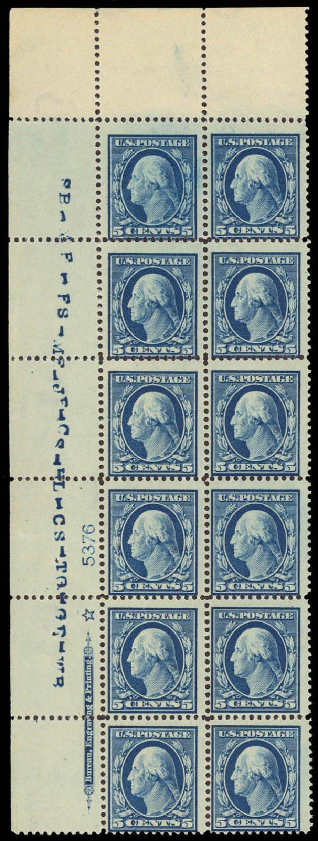Values of US Stamps Scott Cat. # 378: 5c 1911 Washington Perf 12. Daniel Kelleher Auctions, Apr 2013, Sale 636, Lot 330