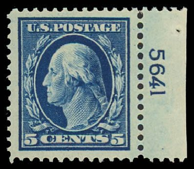 Values of US Stamps Scott Cat. #378 - 1911 5c Washington Perf 12. Daniel Kelleher Auctions, Sep 2013, Sale 639, Lot 3481