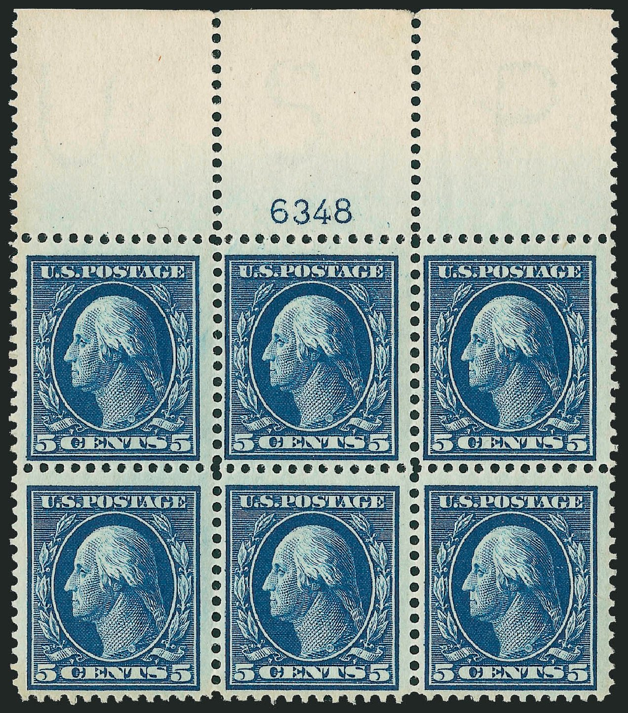 US Stamp Price Scott Cat. # 378 - 1911 5c Washington Perf 12. Robert Siegel Auction Galleries, Mar 2014, Sale 1067, Lot 1461