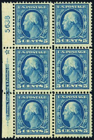 US Stamps Price Scott Cat. # 378: 5c 1911 Washington Perf 12. Harmer-Schau Auction Galleries, May 2013, Sale 97, Lot 384