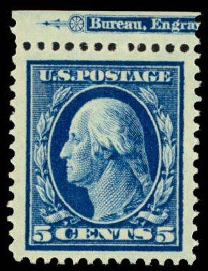 US Stamps Prices Scott Catalog #378 - 1911 5c Washington Perf 12. Daniel Kelleher Auctions, Mar 2013, Sale 635, Lot 494