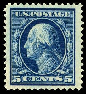 US Stamps Prices Scott Catalogue 378: 1911 5c Washington Perf 12. Daniel Kelleher Auctions, Dec 2012, Sale 633, Lot 655