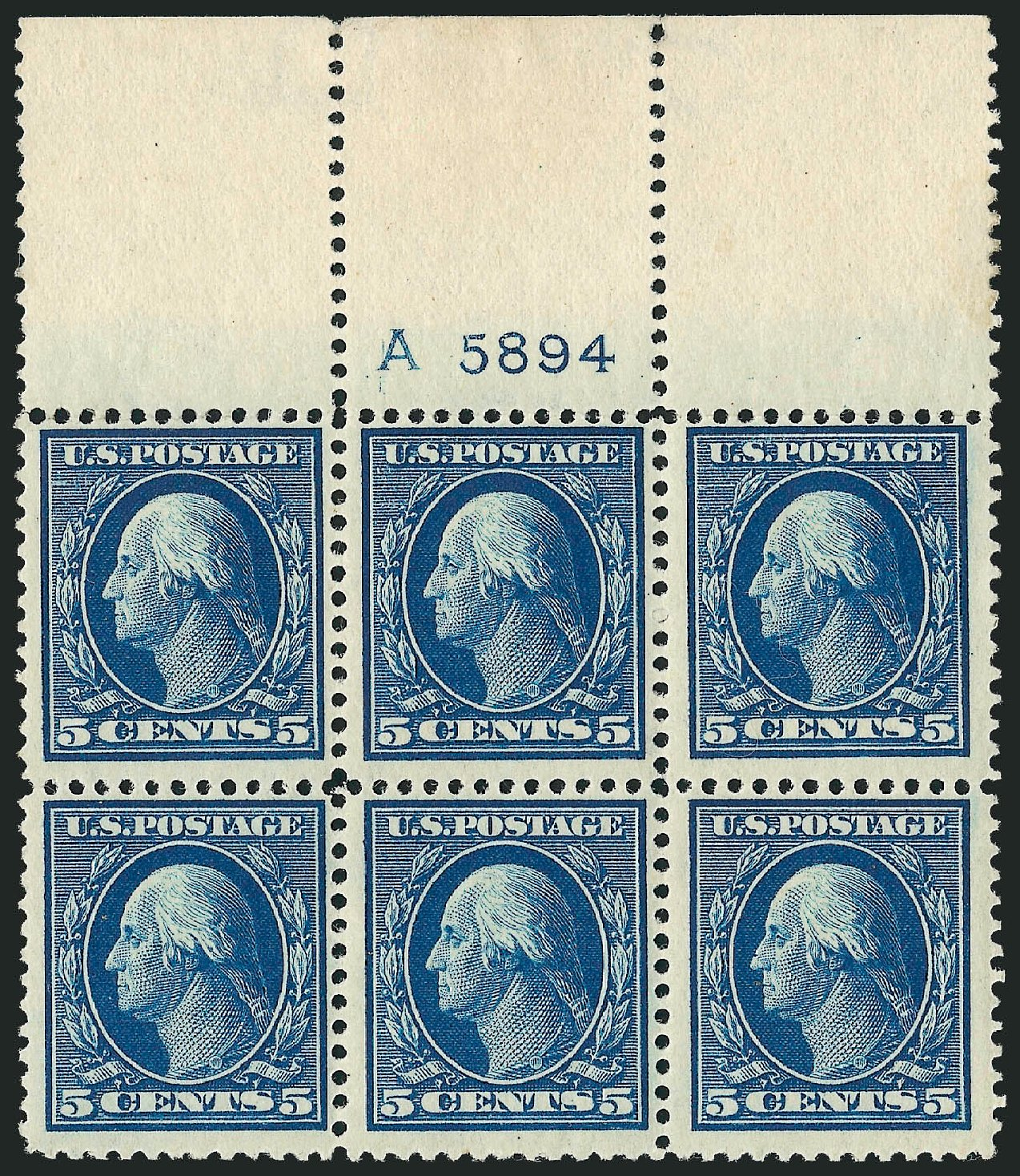 US Stamps Value Scott #378: 1911 5c Washington Perf 12. Robert Siegel Auction Galleries, Sep 2014, Sale 1078, Lot 493