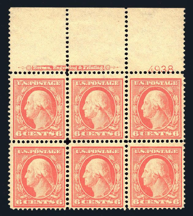 Values of US Stamps Scott Catalogue # 379 - 1911 6c Washington Perf 12. Harmer-Schau Auction Galleries, Aug 2015, Sale 106, Lot 1785
