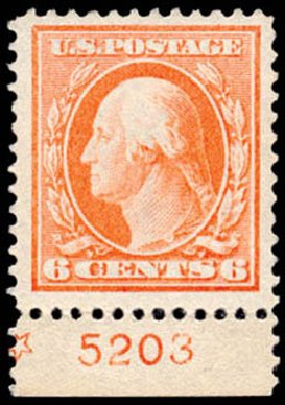 US Stamp Value Scott Cat. 379: 1911 6c Washington Perf 12. Schuyler J. Rumsey Philatelic Auctions, Apr 2015, Sale 60, Lot 2802