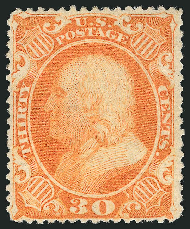 Prices of US Stamps Scott 38: 30c 1860 Franklin. Robert Siegel Auction Galleries, Apr 2015, Sale 1096, Lot 88