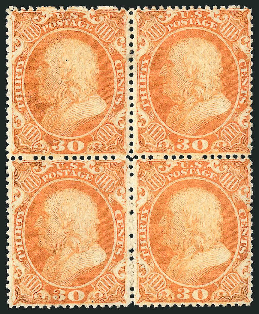 Value of US Stamps Scott #38: 1860 30c Franklin. Robert Siegel Auction Galleries, Apr 2015, Sale 1096, Lot 89