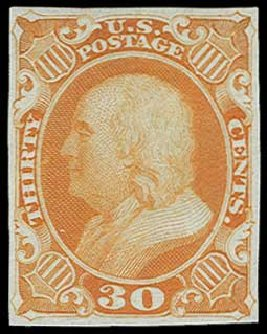 Cost of US Stamp Scott Catalog #38 - 30c 1860 Franklin. H.R. Harmer, Jun 2015, Sale 3007, Lot 3010