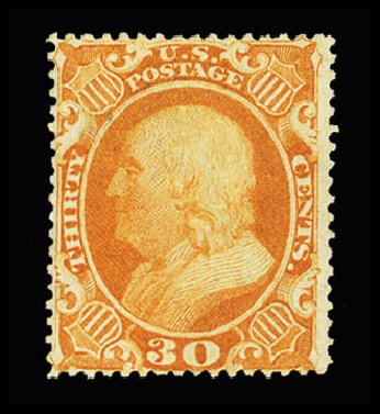 Value of US Stamp Scott Cat. # 38: 1860 30c Franklin. Cherrystone Auctions, Jul 2015, Sale 201507, Lot 2031