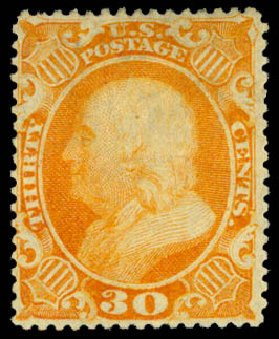 US Stamps Values Scott #38 - 1860 30c Franklin. Daniel Kelleher Auctions, Aug 2015, Sale 672, Lot 2221