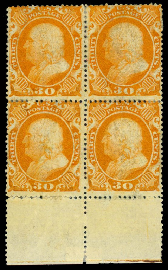 Cost of US Stamp Scott Catalog #38: 30c 1860 Franklin. Daniel Kelleher Auctions, May 2015, Sale 669, Lot 2474