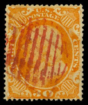 Cost of US Stamps Scott Cat. 38 - 30c 1860 Franklin. Daniel Kelleher Auctions, Aug 2015, Sale 672, Lot 2224