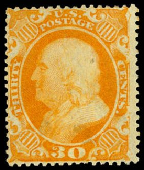 Value of US Stamp Scott Catalogue 38: 30c 1860 Franklin. Daniel Kelleher Auctions, Aug 2015, Sale 672, Lot 2222