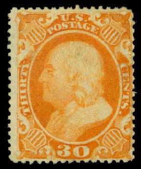 US Stamps Value Scott Catalogue # 38 - 30c 1860 Franklin. Daniel Kelleher Auctions, Aug 2015, Sale 672, Lot 2223