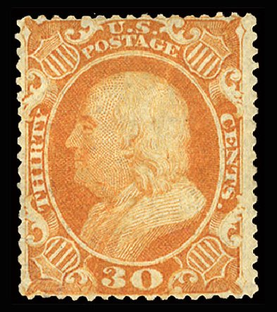 US Stamps Prices Scott Cat. #38: 30c 1860 Franklin. Cherrystone Auctions, Jul 2015, Sale 201507, Lot 26