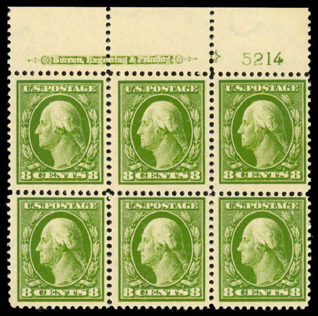 Cost of US Stamps Scott Catalogue 380 - 1911 8c Washington Perf 12. Daniel Kelleher Auctions, Sep 2013, Sale 639, Lot 3490