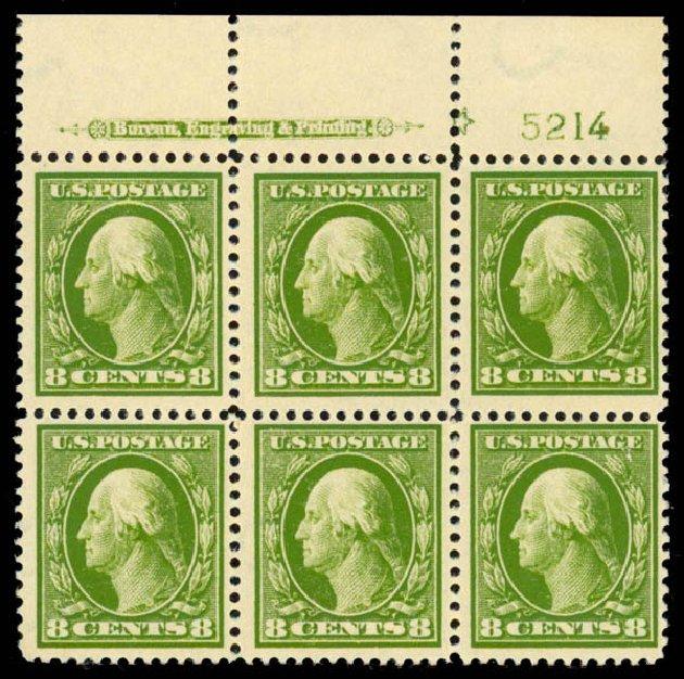 Cost of US Stamps Scott Catalogue 380 - 1911 8c Washington Perf 12. Daniel Kelleher Auctions, Sep 2013, Sale 639, Lot 3490
